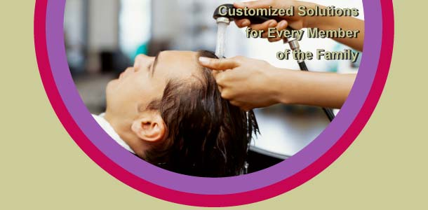 Customized solutions for every member of the family - man having his hair washed